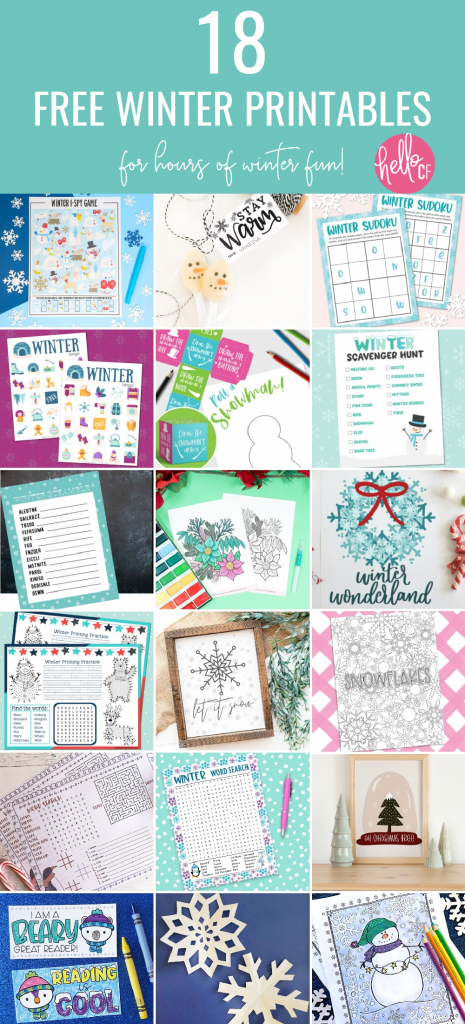 Download 18 Free Winter Printables including a Winter Activity Placemat! Loaded with fun activities to keep kids occupied during the winter months from some of your favorite craft bloggers! #Winter #Printables #FreePrintable #ActivityPlacemat #activitysheet #snowman #homeschoolactivities #homeschoolkids #homeschoolmom #printingpractice #connectthedots