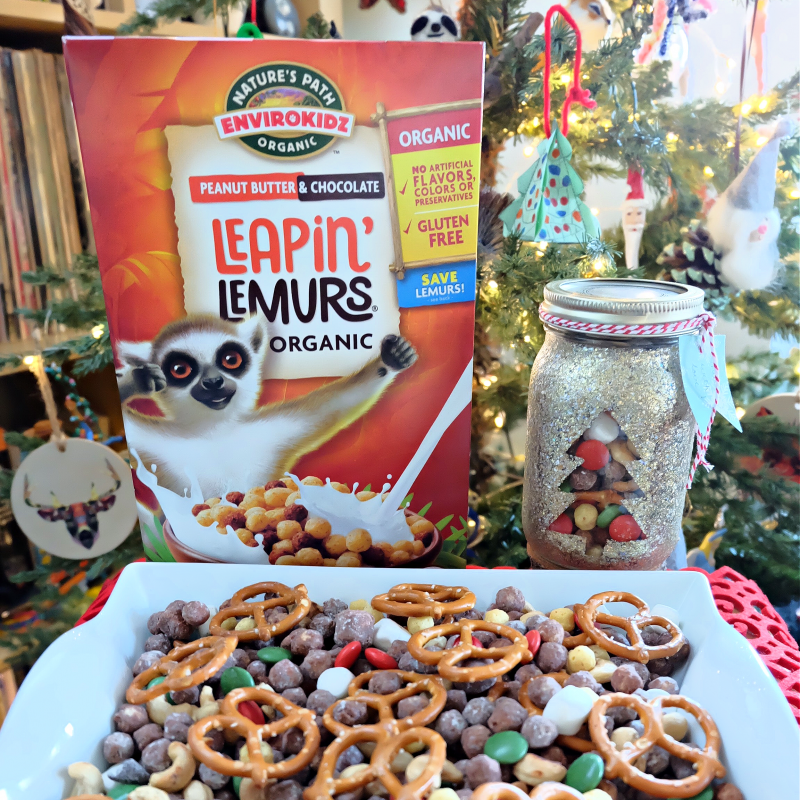 Christmas snack mix made with Leapin Lemurs Cereal.