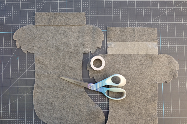 Use hem tape to seal the top hem of your koala stocking.