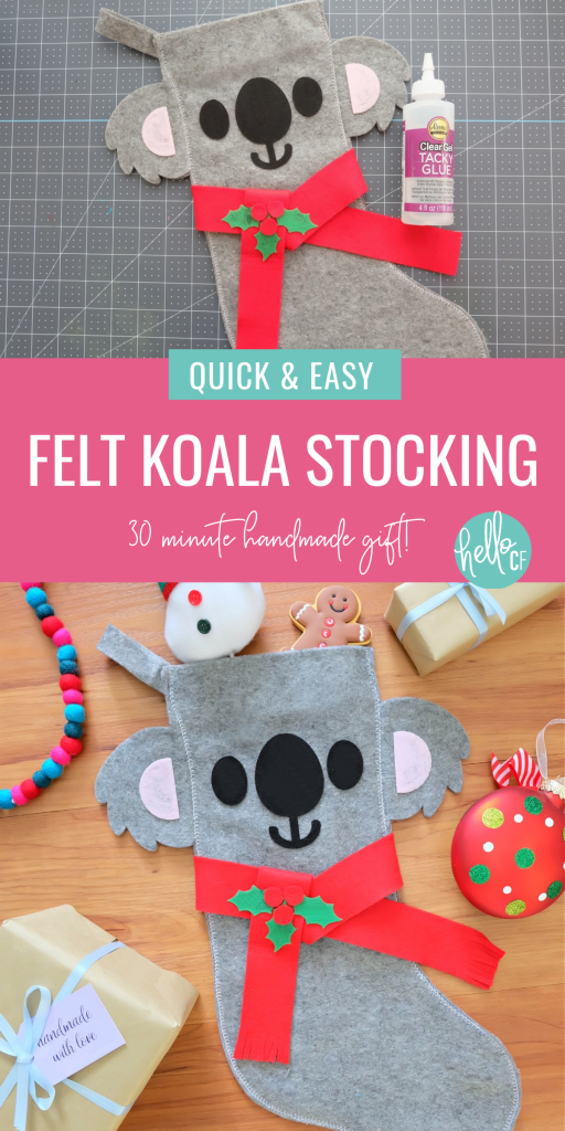 Sew a beautiful DIY Koala Felt Stocking in 30 minutes with this quick and easy sewing tutorial. Includes step by step photos and instructions along with free pattern to cut with scissors or SVG file to cut with your Cricut or Silhouette. Makes a beautiful quick and easy handmade Christmas gift idea for an animal lover! #Koalas #Felt #Stocking #sewing #christmas #DIYStocking #Crafts #ChristmasCrafts #HandmadeGifts