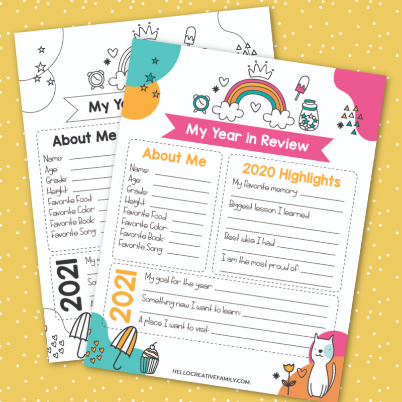 Take a look back at 2020 and set goals for 2021 with this 2020 Year In Review Printable for kids! #Planning #Goals #2020 #FreePrintables #Printables #newyear #kidsprintables
