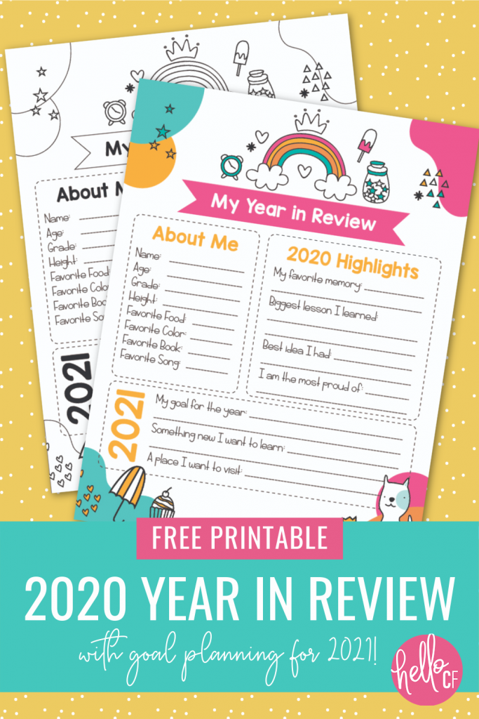 Take a look back at 2020 and set goals for 2021 with this 2020 Year In Review Printable for kids! The perfect family New Year's Eve activity! #Planning #Goals #2020 #FreePrintables #Printables #newyear #kidsprintables