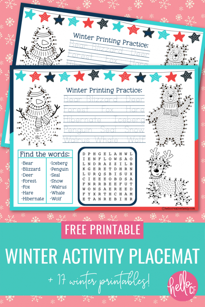 Download a free Winter Activity Placemat Printable packed full of fun activities to keep kids entertained at the dinner table including connect the dots, a word search and printing practice! Also includes links to 17 other winter printables! #Winter #Printables #FreePrintable #ActivityPlacemat #activitysheet #snowman #homeschoolactivities #homeschoolkids #homeschoolmom #printingpractice #connectthedots