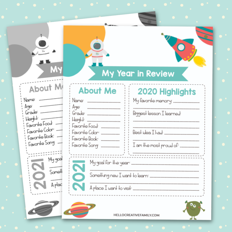 Use this free space printable to take a look back at the last year and set goals for the new year! The perfect family New Year's Eve activity! #Planning #Goals #2020 #FreePrintables #Printables #newyear #kidsprintables