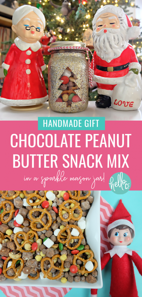 Learn how to make the most delicious Chocolate Peanut Butter Cereal Snack Mix in DIY Sparkle Mason Jar that's perfect for Christmas gifting! A beautiful and delicious handmade Christmas food gift idea! #Christmas #CerealMix #homemade #recipe #DIY #CerealSnack #Cereal #FoodGifts