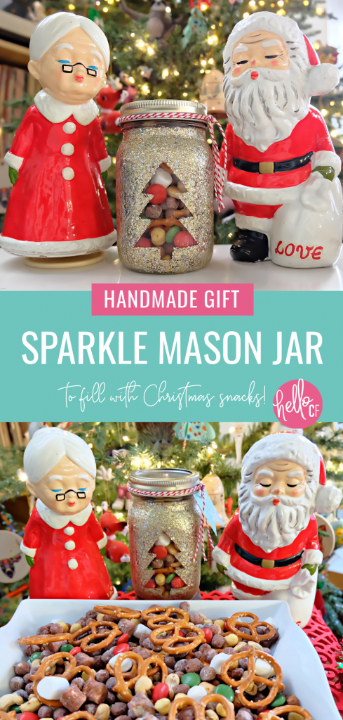 Learn how to make a DIY Sparkle Mason Jar that's perfect for filling with yummy snacks for a one of a kind handmade Christmas gift! This project uses glitter Mod Podge so you don't end up with glitter all over your craft space! #HandmadeGift #DIY #Sparkle #Glitter #MasonJar #masonjarideas #masonjargifts