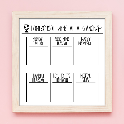 Let's get organized! We're sharing 12 free organization cut files to use with your Cricut or Silhouette including a Week At A Glance Homeschool SVG File to DIY a homeschool dry erase board!