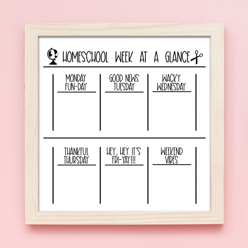 Create a homeschool dry erase board for keeping track of weekly tasks and assignments with this Weekly Homeschool Calendar SVG File! Also includes 12 organization cut files to organize your life and home! #SVGFIles #CutFiles #FreeSVG #Organization #homeschool #life #newyear #goals #homeschoolmom