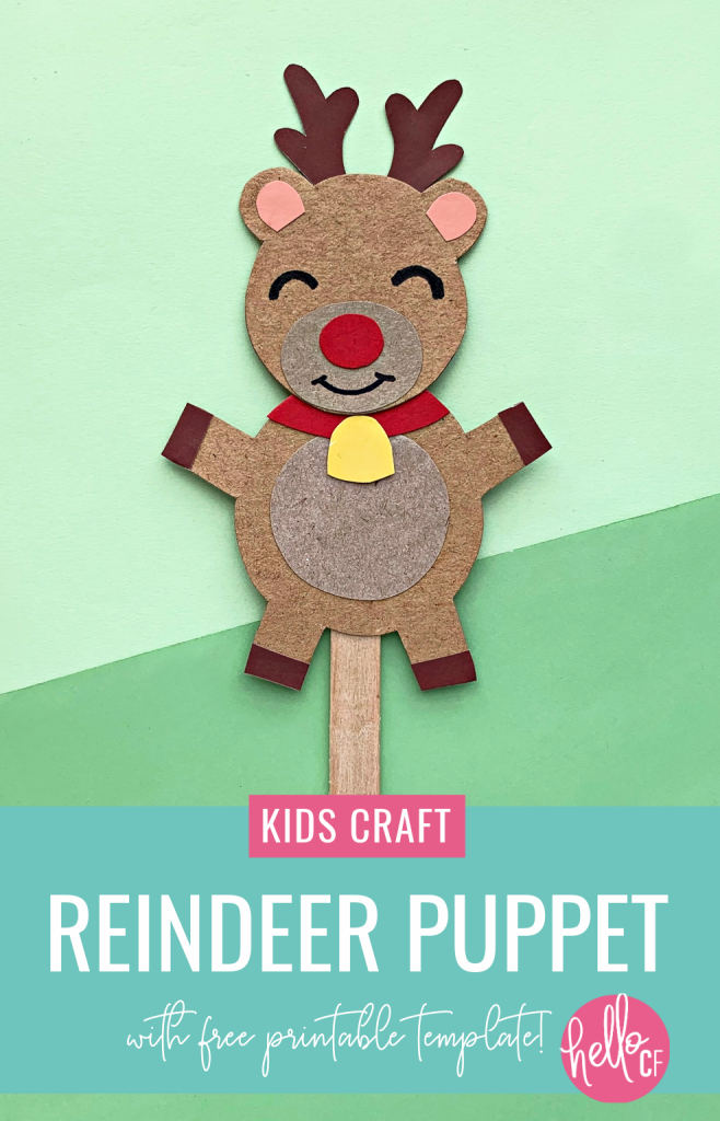 Make a DIY Rudolph Reindeer Puppet in this festive Christmas craft for kids! Includes a free printable template for Christmas crafting fun! Have a family Christmas puppet show! #papercrafts #printables #freeprintables #christmasprintables #kidscrafts #rudolph #reindeer