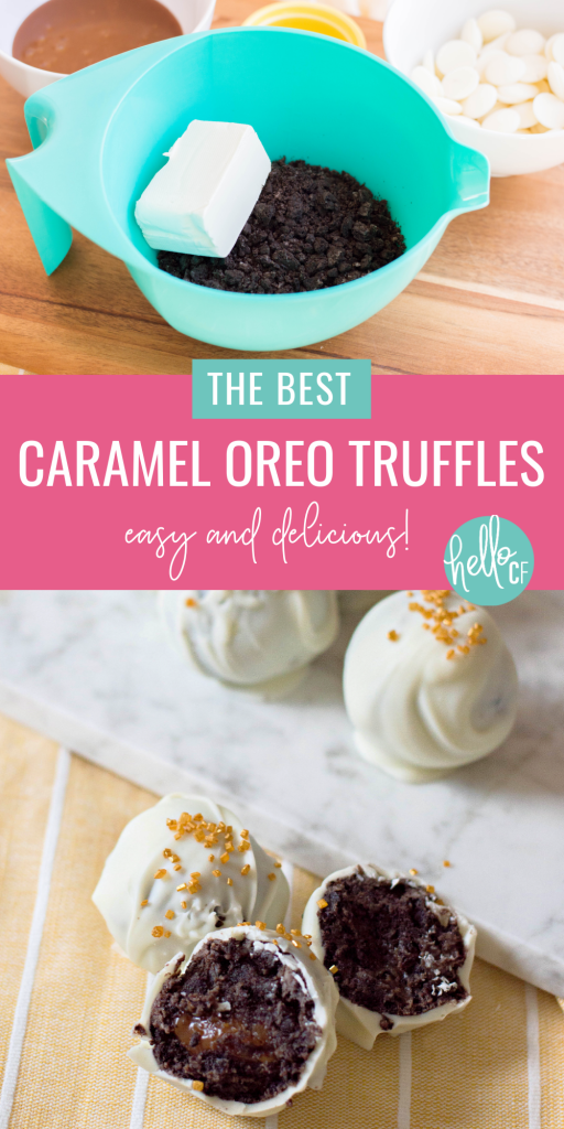 Looking for easy and delicious bite sized dessert ideas? This is THE BEST caramel Oreo truffles recipe you will ever taste! Topped with gold sprinkles, these truffles look extra fancy, but can be made with pantry and refrigerator staples! You are going to love them! Perfect for New Year's dessert, Mother's Day dessert or thoughtful handmade food gifts! #Oreo #truffles #Recipe #caramel #chocolate #homemade #dessert #foodgifts