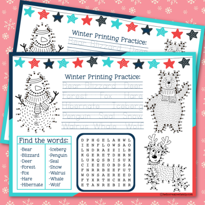 Download a free Winter Activity Placemat Printable packed full of fun activities to keep kids entertained at the dinner table including connect the dots, a word search and printing practice! Also includes links to 17 other winter printables! #Winter #ActivityPlacemat #activitysheet #snowman #homeschoolactivities #homeschoolkids #homeschoolmom #printingpractice #connectthedots