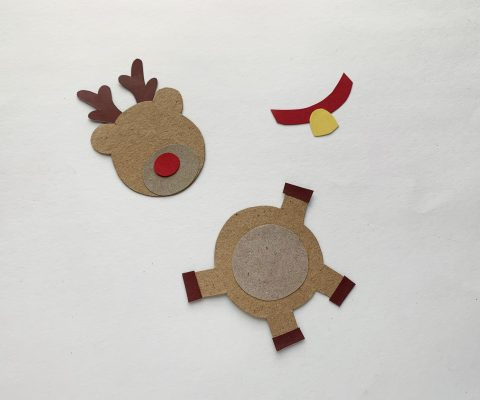 Stick the small strips that are the reindeer's hooves onto the end of it's legs .