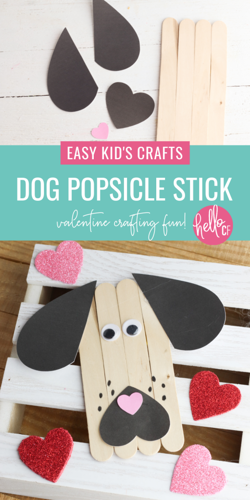 An adorable rescue dog inspired popsicle stick craft! Perfect for an easy preschool craft for Valentine's Day! Includes free printable & Cricut Print and Cut Files! Also makes a great kindergarten craft or early primary learning. #KidsCrafts #PopsicleStick #CraftStick #ValentineCrafts #PreK #Preschool #PreschoolCrafts #PreKCrafts #RescueDogs #CricutCrafts #CricutMade #homeschool #homeschoolmom #primarylearning #PrimaryCraft