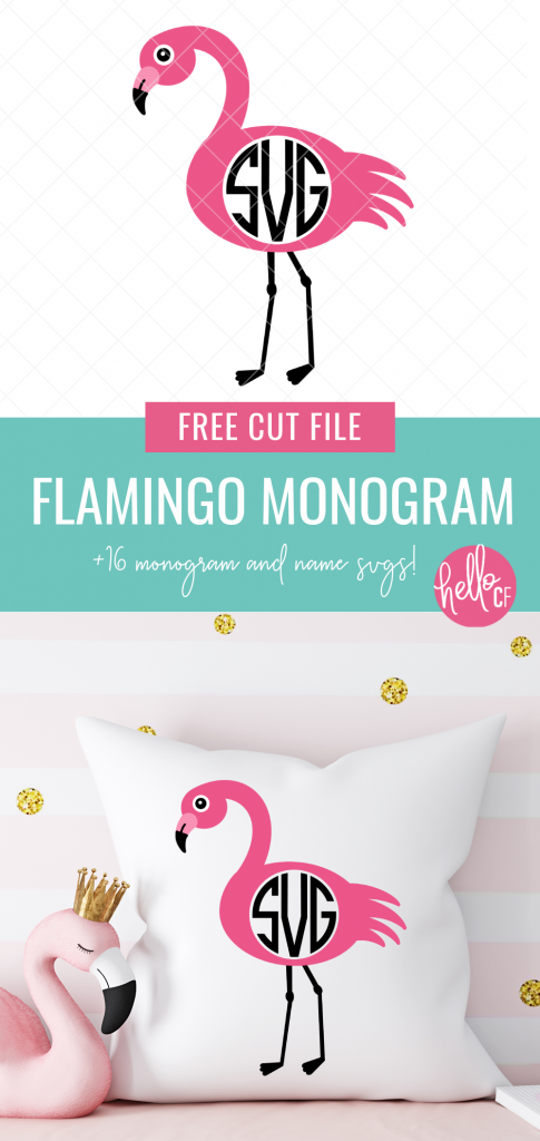 This free flamingo monogram svg is SO CUTE! Perfect for making flamingo themed birthday or party decor, DIY beach bags, customized birthday shirts and more! Grab this and 15 other free monogram and name cut files that you can customize for handmade gifts! Use with your Cricut or Silhouette! #monogram #flamingo #summer #personalized #handmadegifts #Flamingocrafts #flamingobirthday