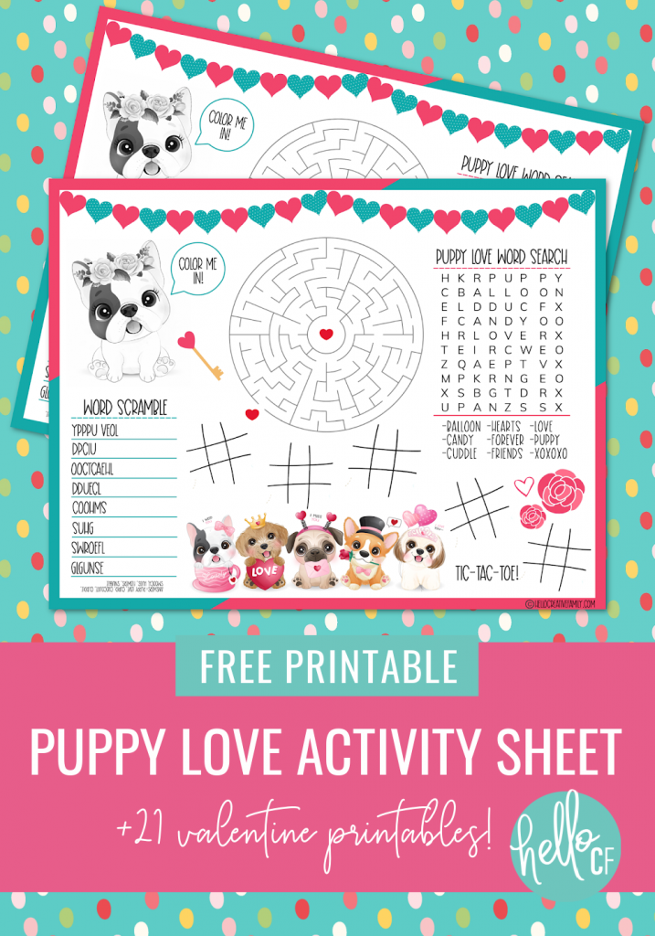 This free Puppy Love Activity Sheet Printable is so stinking cute! Includes a Valentine word search, coloring sheet, maze, word scramble and tic-tac-toe! Use as a Valentine Activity Placemat at the dinner table! Includes links to 21 Valentine's Day Themed Printables including Free Printable Valentine's Day Cards, Games, Crafts and Activities! #Printables #Valentine #ValentinesDay #Puppy #puppylove #FreePrintable #Love #games #Crafts #ActivitySheet