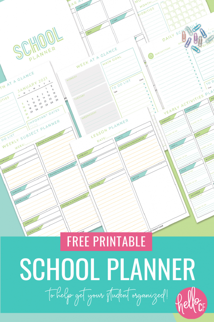 Tired of procrastinating? Ready to get organized? Download this free School Planner printable! Includes a 2021 dated pages along with blank pages you can fill in yourself along with a lesson planner, daily, weekly and monthly planner pages and so much more! Perfect for teachers lesson plans, student planner, homeschool kids and homeschool families! #Printables #Freeprintables #StudentPlanner #SchoolPlanner #Calendar #2021 #homeschool