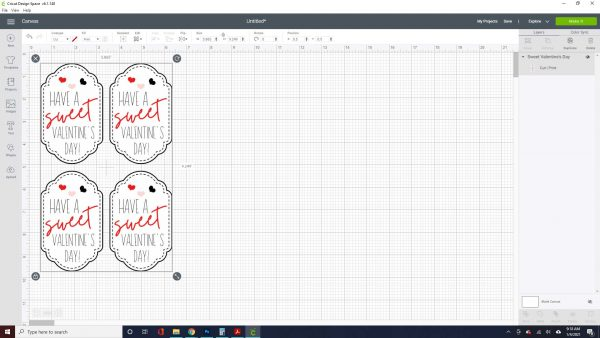 """Resize the cards if needed. The maximum print and cut size is 9.25"""" X 6.75"""". To resize click on the cut file and either use the arrows that appear in the corner or use the Size button in the toolbar."""