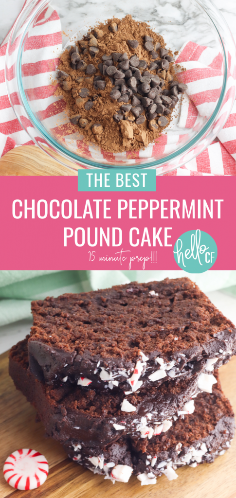Looking for the best chocolate pound cake recipe you've ever tasted? You've found it! This chocolate peppermint pound cake recipe is moist, delicious and full of flavor! It can also be prepped in just 15 minutes... and who doesn't love a quick and easy dessert recipe! Perfect for tea, brunch or any time you are entertaining or want a sweet treat! A chocolate lovers dream come true! #Chocolate #peppermint #poundcake #loaf #loaves #dessert #brunch #chocolatepeppermint #candycane #baking #Recipe