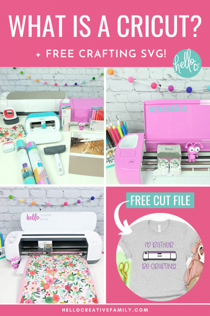 "Do you love crafting? We do too! Have you ever wondered ""What Is A Cricut Cutting Machine?"" Be prepared to have your crafting and DIY life changed forever in this ultimate Cricut guide! We're answering all of your Cricut questions about what is a Cricut Maker, Cricut Explore Air 2 and Cricut Joy and we're also sharing a free craft SVG that says ""I'd Rather Be Crafting"" and has a drawing of a Cricut."