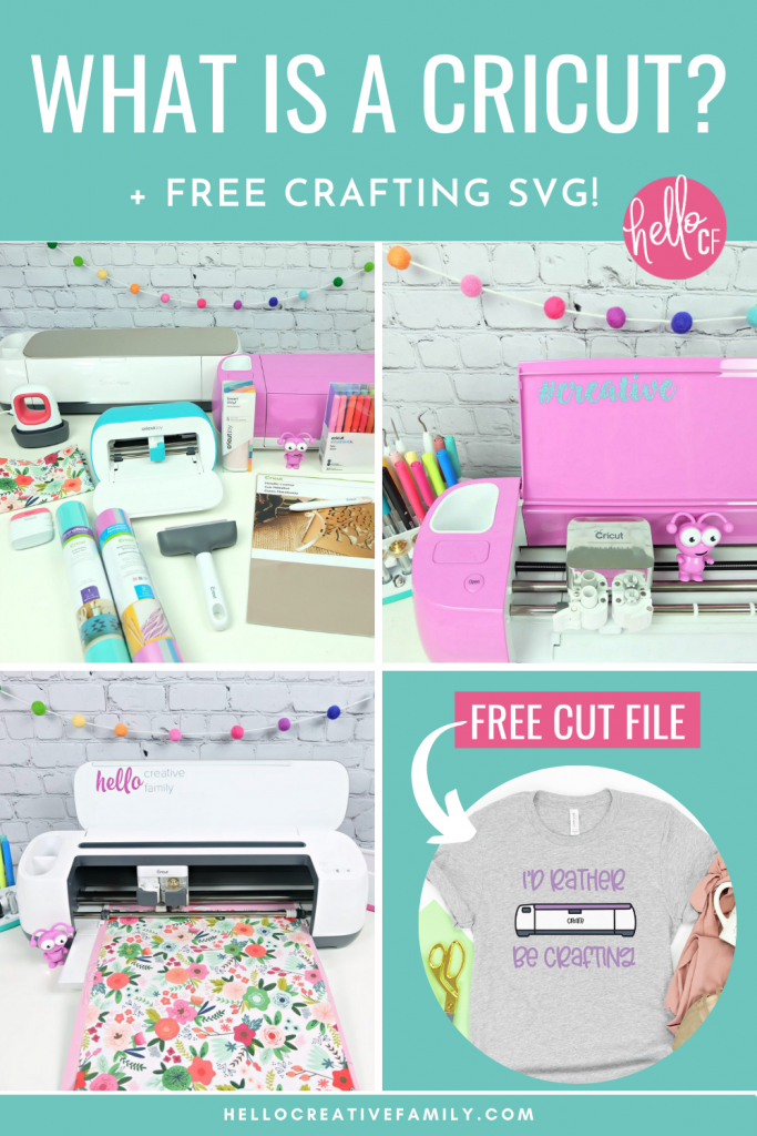 """Do you love crafting? We do too! Have you ever wondered """"What Is A Cricut Cutting Machine?"""" Be prepared to have your crafting and DIY life changed forever in this ultimate Cricut guide! We're answering all of your Cricut questions about what is a Cricut Maker, Cricut Explore Air 2 and Cricut Joy and we're also sharing a free craft SVG that says """"I'd Rather Be Crafting"""" and has a drawing of a Cricut."""