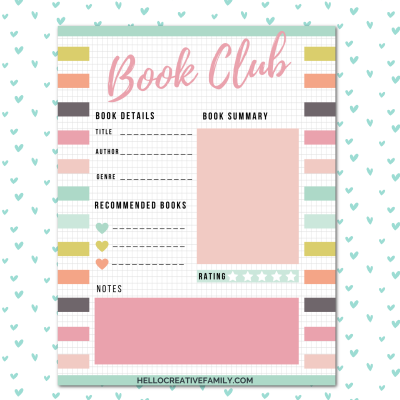 Keep track of each of the books your book club reads with this free book club tracker printable! We're also sharing 17 free reading printables for kids and adults from book scavenger hunts, to bookmarks, book stickers and coloring pages! Come and download them all!