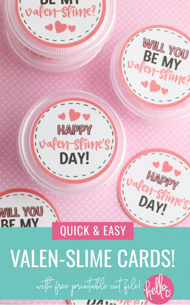 DIY Slime Valentine Cards with this quick and easy craft! Includes a recipe for DIY heart slime and a free printable that you can cut with scissors or using the print and cut function on your Cricut! #ValentinesDay #kidscrafts #ValentineCard #PrintableValentine #printable #printandcut #cricutcreated #CricutMade