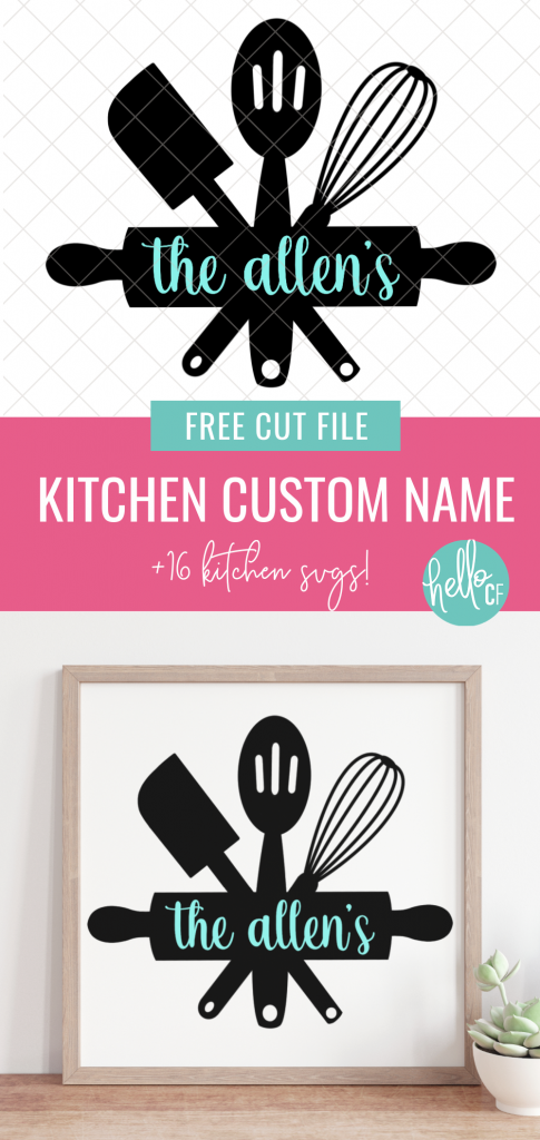 Make crafts for the kitchen! We're sharing 16 free kitchen cut files including a custom name svg for making a family name signs! Make adorable handmade gifts using your Cricut or Silhouette including signs, aprons, mugs, mixing bowls and more!