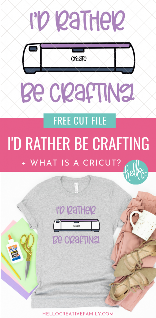 "Love Cricut? I do too! I'm sharing a free I'd Rather Be Crafting SVG that you can cut using your Cricut Maker, Cricut Explore Air 2 or Cricut Joy along with the 411 on ""What is a Cricut?"" You'll find everything you need to know in this Cricut Guide!"
