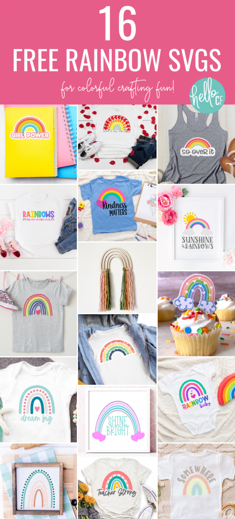 Download 16 Free Rainbow Cut Files that you can use to make Rainbow Crafts using your Cricut Maker, Cricut Explore or Silhouette Cameo! Make DIY Rainbow shirts, mugs, hoodies and more! #RainbowCrafts #Rainbow #DIY #Crafts #CricutCreated #CricutMade #CricutMaker