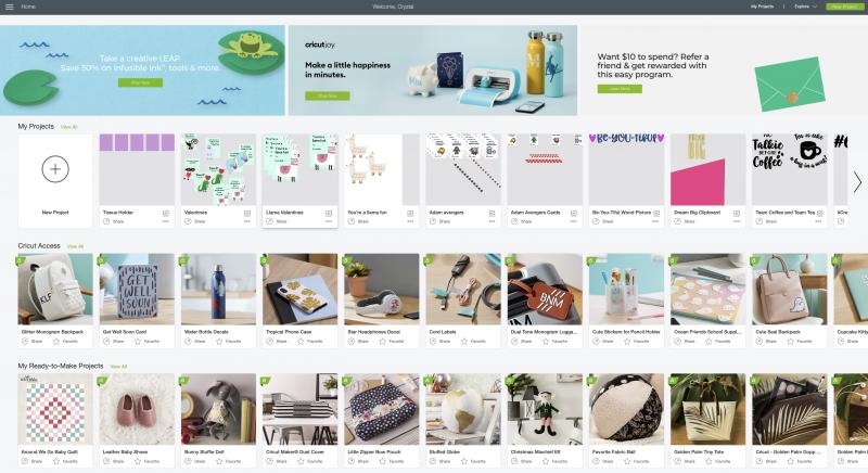 Cricut Design Space Home Screen