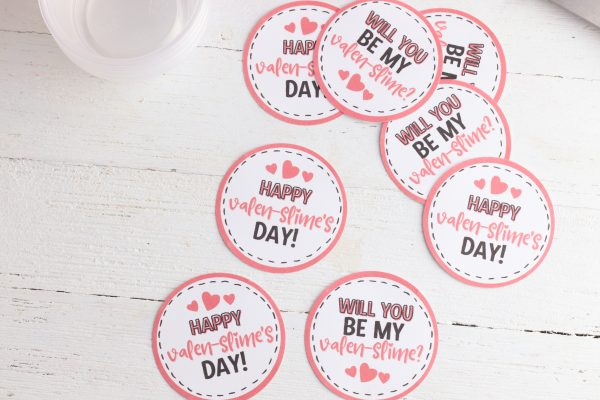 Cut out the valentines using either scissors or the Print and Cut function of your Cricut. I like using Cricut Printable Vinyl for this project because it has a sticker back.