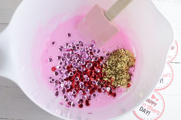 Stir in the sequins and glitter.
