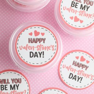 DIY Slime Valentine Cards With Free Printable (Cut With Scissors Or Your Cricut)