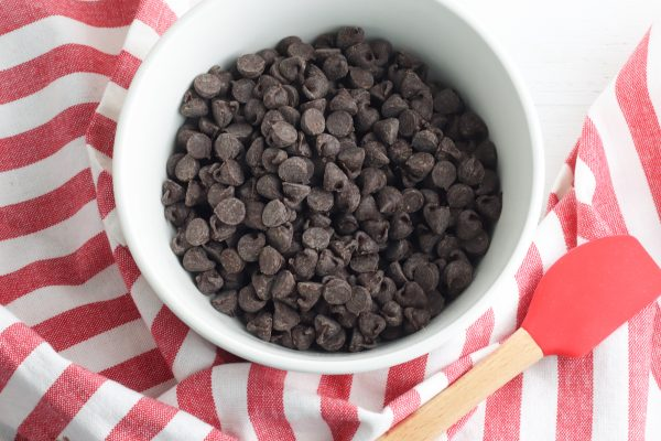 Place the dark chocolate chips in a microwave safe bowl and microwave in 30 second intervals, stirring between each interval, until the chocolate chips are fully melted.