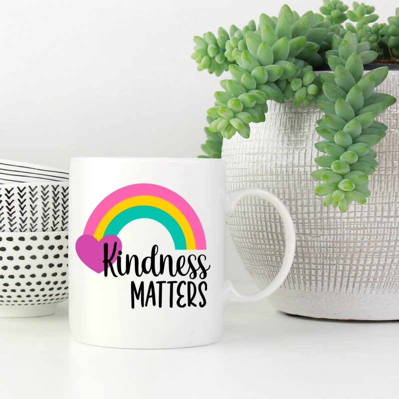 Make an adorable Kindness Matters DIY Rainbow Mug using this free SVG cut file from Hello Creative Family! #Rainbow #RainbowCrafts #Cricut #Silhouette #CricutMaker #CricutExplore #Crafting #Kindness #KindnessMatters #Antibullying