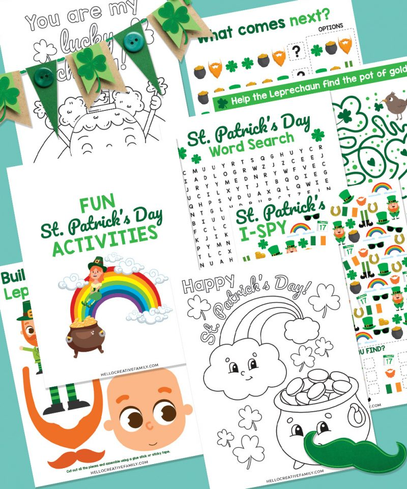 Get ready for some St Patty's Day fun with this St Patricks Day Printable Activity Pack! Filled with 7 pages of fun for kids including coloring sheets,  a leprechaun pot of gold maze, word search, I-Spy, complete the pattern and build a leprechaun! Hours of St. Patrick's Day fun for elementary school kids! Perfect for homeschooling!