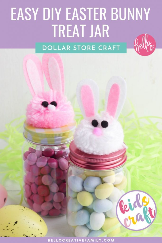 Get ready for Easter with this adorable Kids Easter Craft! We're making Easy DIY Easter Bunny Treat Jars using supplies that are all available at the dollar store or your local craft store! Fill these adorable mason jars with Cadbury Mini Eggs, Jelly Beans or other Easter Candy. Perfect for friend, teacher or neighbor Easter gifts! Have fun crafting with supplies from The Dollar Tree or Dollarama!