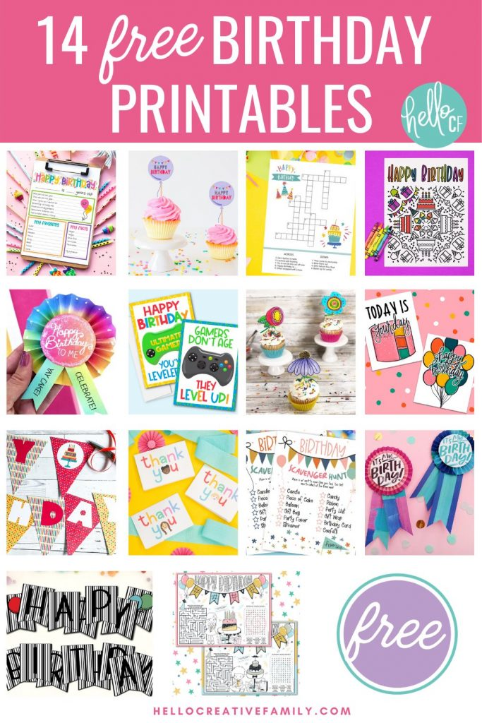 Make birthday planning easy with 14 free birthday printables! We've got you covered with everything from birthday activity sheets, to birthday banners and cupcake toppers! Download them all for a ton of birthday fun!