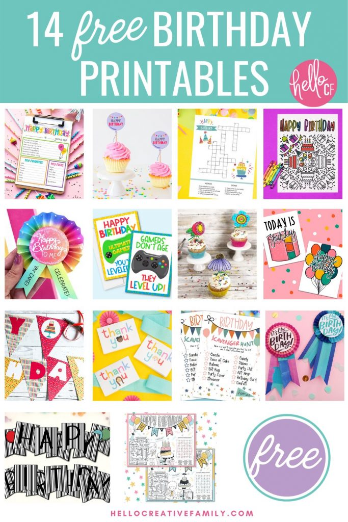 Free Birthday Activity Sheets + 14 Birthday Printables