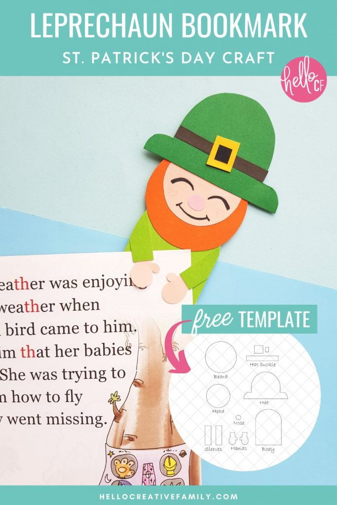 Looking for fun St Patricks Day projects for kids? We've got you covered with this kids leprechaun craft! We're making leprechaun bookmarks! Grab the free leprechaun printable template and follow the easy step by step instructions. Also includes a St. Patrick's Day reading list and 11 St. Patrick's Day projects and activities perfect for homeschooling!