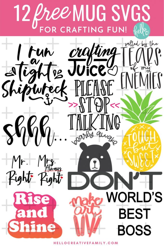 Download 12 free mug cut files for making easy DIY mugs as gifts (or for yourself) using the Cricut Mug Press! Don't have a mug press? No problem! These free mug svgs can be cut from permanent vinyl, Infusible Ink or htv to use for a variety of different projects! Cut using your Cricut Maker, Cricut Explore Air, Cricut Joy or other electronic cutting machine!