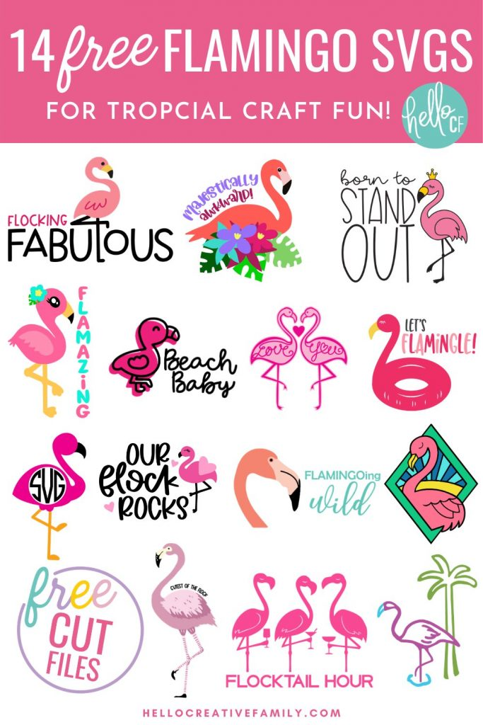 Love summer and that tropical vibe feeling? Download 14 Free Flamingo SVGs for DIY tropical party decorations, shirts mugs and more! Use these free flamingo cut files with your Cricut or other electronic cutting machine for tons of bright, colorful, summer crafting fun!