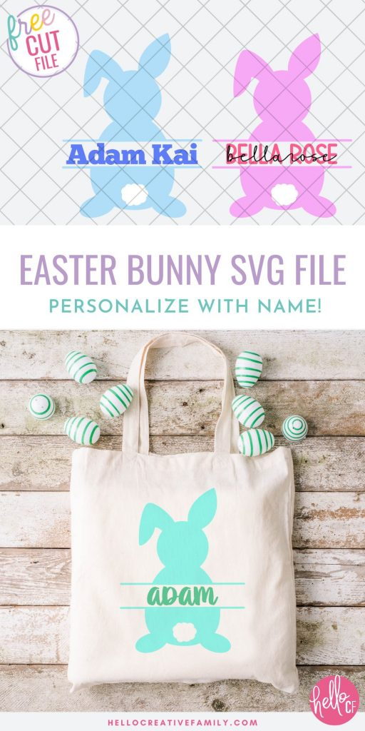 Who wants a free cut file for making adorable Easter crafts with their Cricut? Use this free Easter Bunny SVG for making DIY easter baskets, mugs, kids shirts and more! Personalize with your child's name or a monogram for a one of a kind Easter basket gift! The perfect Easter project with the Cricut Maker, Cricut Explore Air 2 or Cricut Joy!