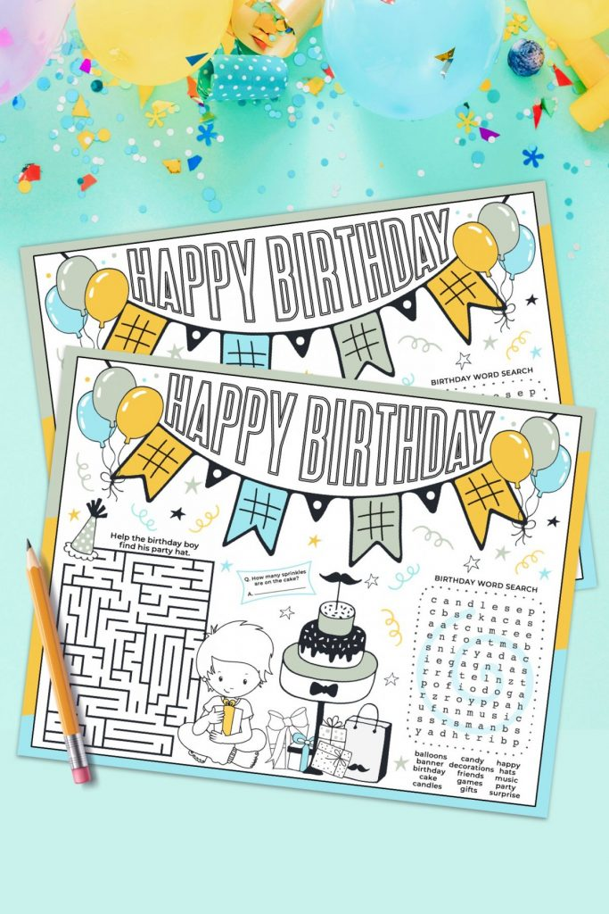 Birthday Boy Activity Placemat on blue backdrop with confetti, balloons and candles.