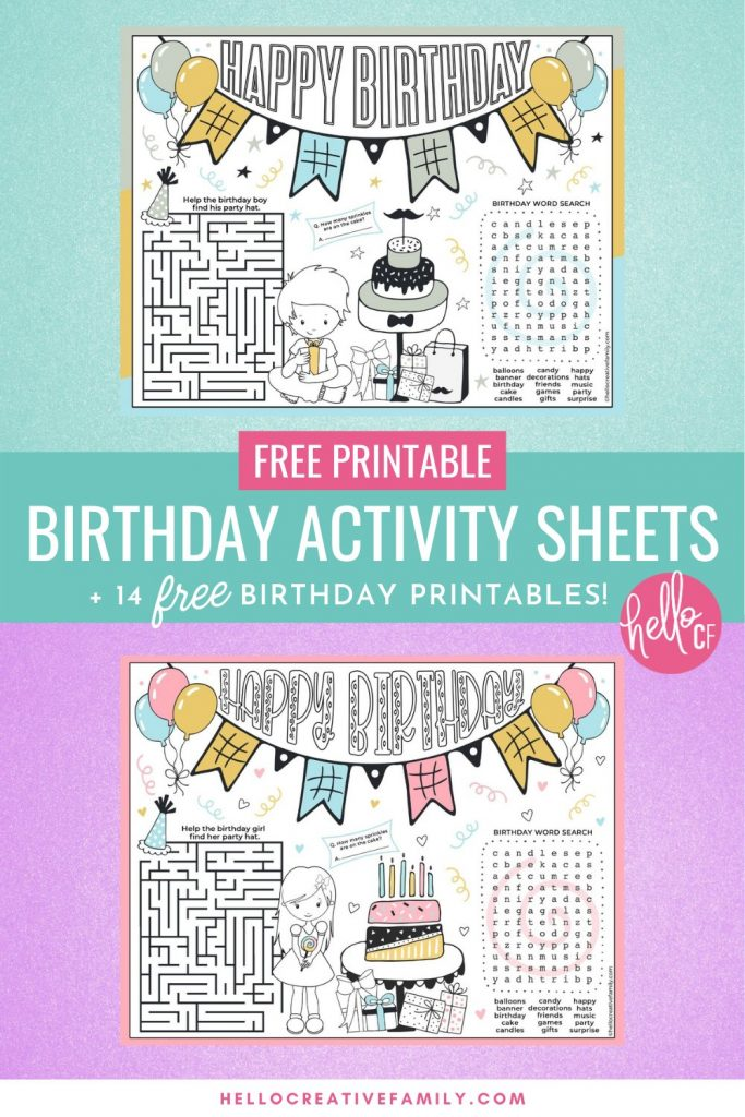 Make birthdays extra fun for thebirthday girl or birthday boy with these free birthday activity sheet placemats! We've got two to choose from that have a birthday coloring sheet, tic-tac-toe, a maze, count the sprinkles and a birthday word search! Also includes links to 14 free birthday printables! Perfect for birthday party activities!