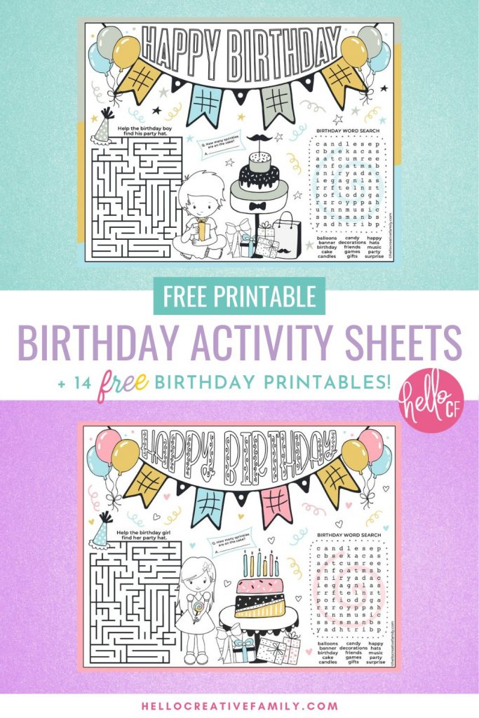 Make birthdays extra fun for the birthday girl or birthday boy with these free birthday activity sheet placemats! We've got two to choose from that have a birthday coloring sheet, tic-tac-toe, a maze, count the sprinkles and a birthday word search! Also includes links to 14 free birthday printables! Perfect for birthday party activities!