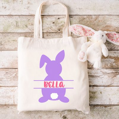 Free Easter Bunny SVG Files that you can personalize with your child's name! This cut file is perfect for making Easter bags with your Cricut!