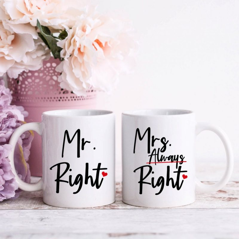 Set of mugs that say Mr Right and Mrs Always Right!