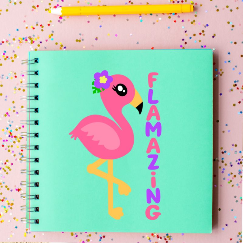 DIY Flamingo Notebook made with Cricut and  free Flamazing Flamingo Cut File from Hello Creative Family