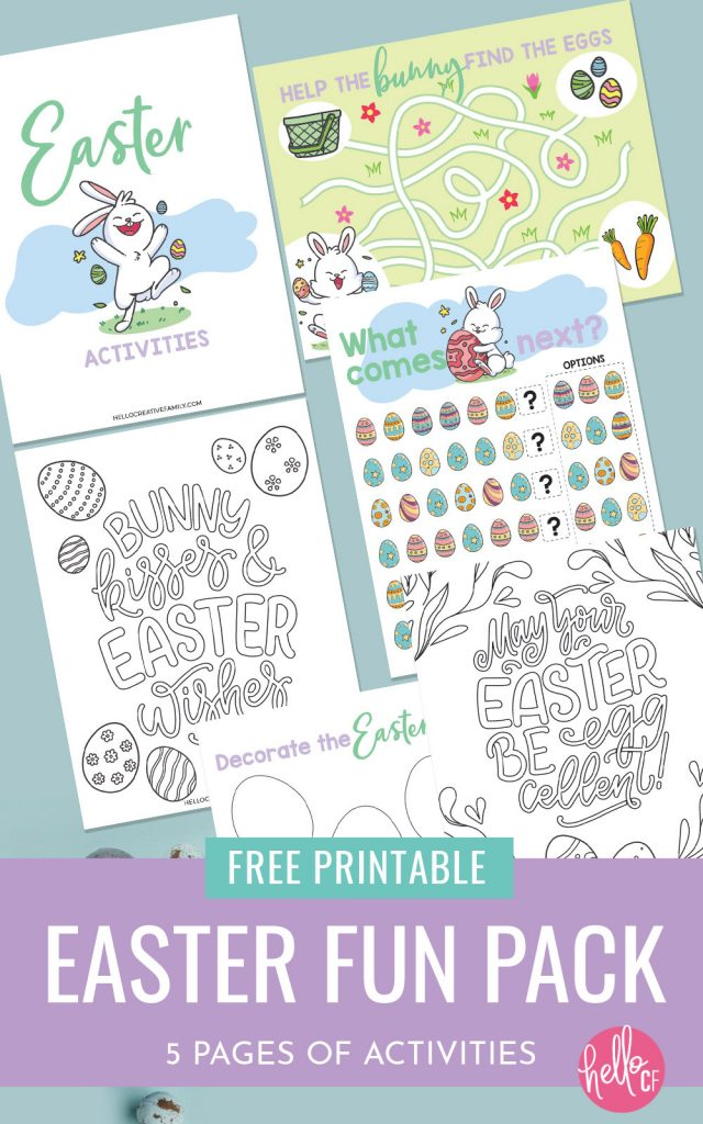 Get ready for some Easter fun with this Easter Printable Activity Pack! Filled with 5 pages of fun for kids including Easter coloring sheets, Easter egg decorating, Easter bunny maze and complete the pattern! The perfect kids activity for Easter morning!